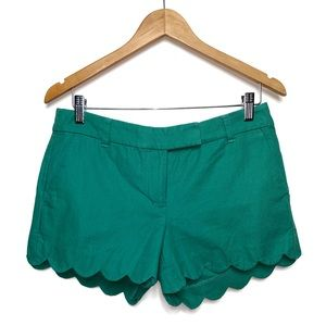 J crew green scalloped shorts size 4